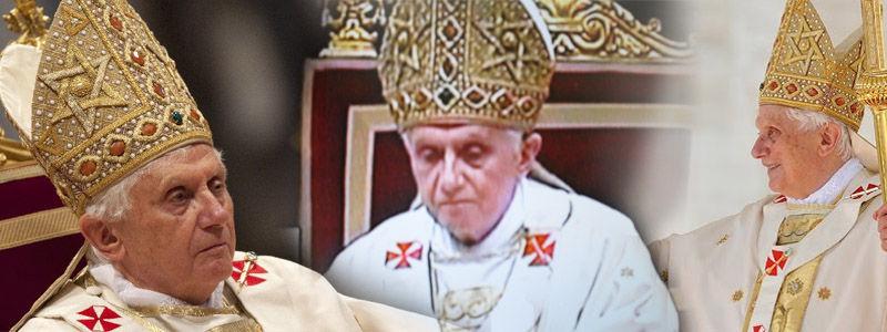 Anti Pope Benedict XVI wears Star of David (Jewish) mitre