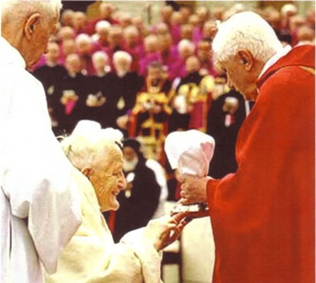 Anti Pope Benedict XVI giving Communion to Bro. Roger Schutz