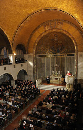 Anti Pope Benedict XVI's gives heretical speech inside the Lutheran Church in Rome