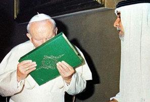 Anti Pope John Paul II kissing the Koran