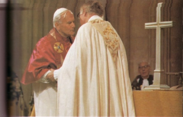 More photos of John Paul II worshipping and communing with the schismatic layman who headed the Anglican Sect