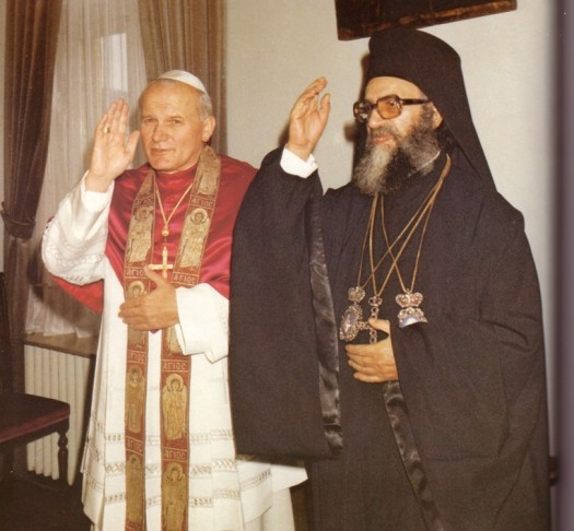 Photos of John Paul II communing and blessing with another Eastern Schismatic Leader