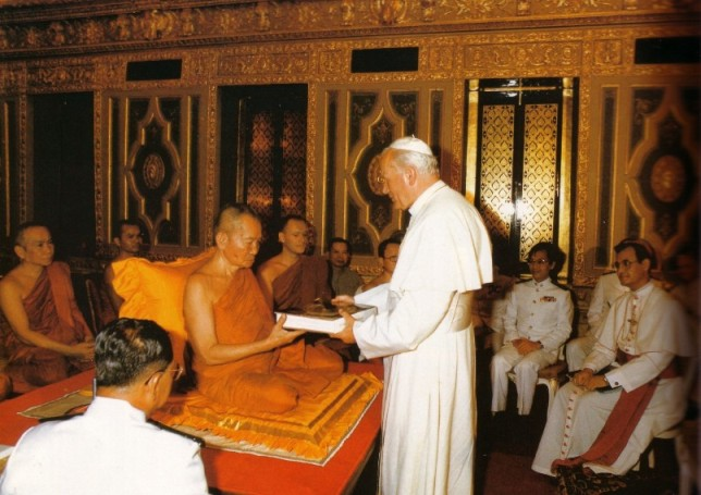 Anti-Pope John Paul II inside a Buddhist Temple