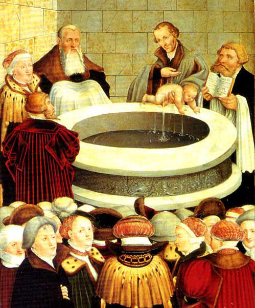 A Protestant baptizing an infant