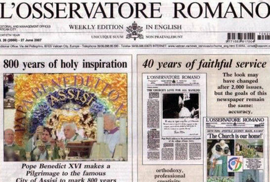 2,000 issues of L'Osservatore Romano – 40 years of unfaithful service, heresy and apostasy