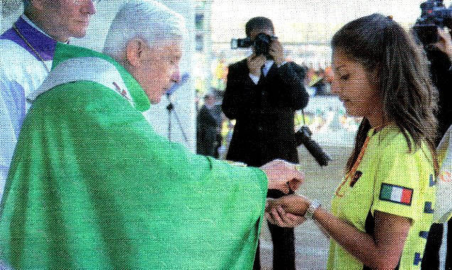 "Anti Pope Benedict XVI giving ""communion"" in the hand"