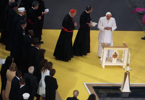 Anti Pope Benedict XVI prays at Ground Zero in New York City