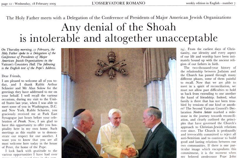 """Anti Pope Benedict XVI and the Vatican say Williamson must accept """"the Holocaust"""""""
