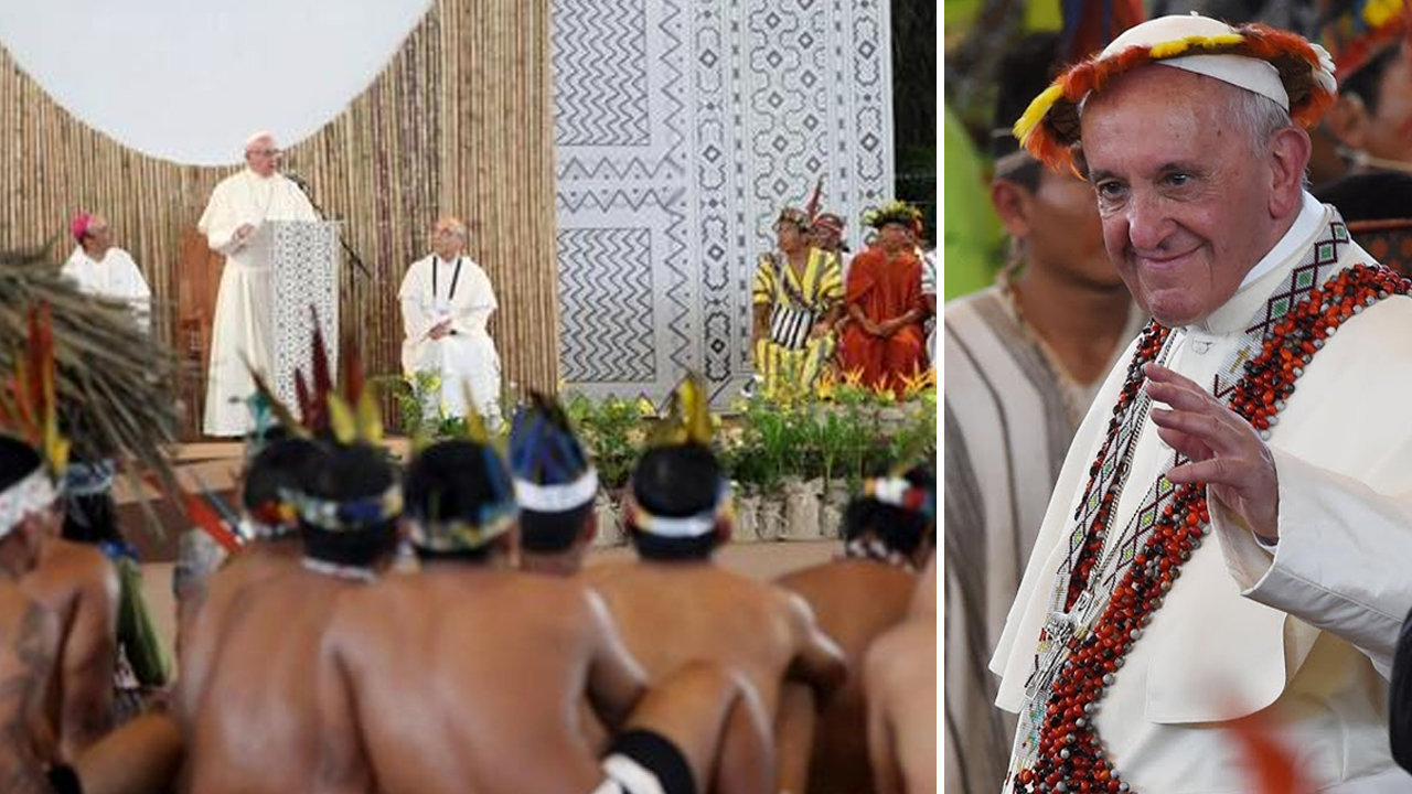 Anti-Pope Francis shakes the hands of the natives of the Amazon River