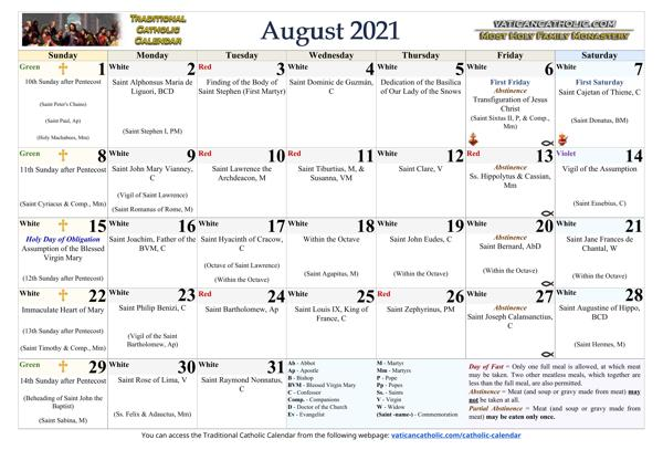 Month of August 2021