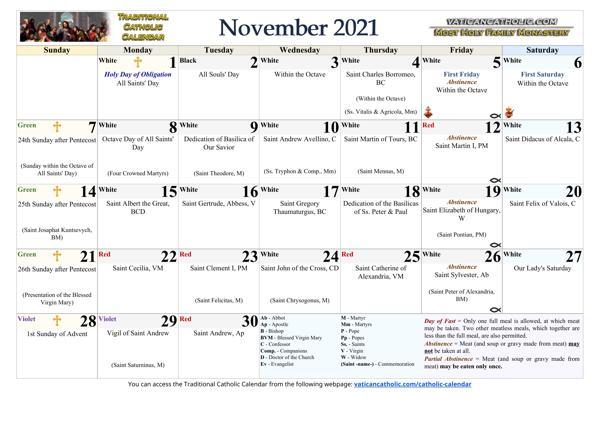 Month of November 2021