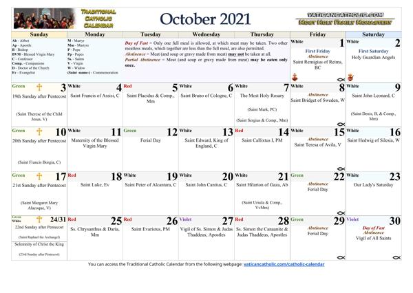 Month of October 2021