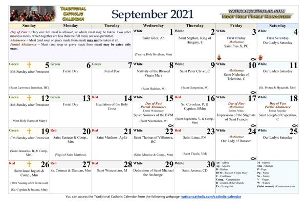 Month of September 2021