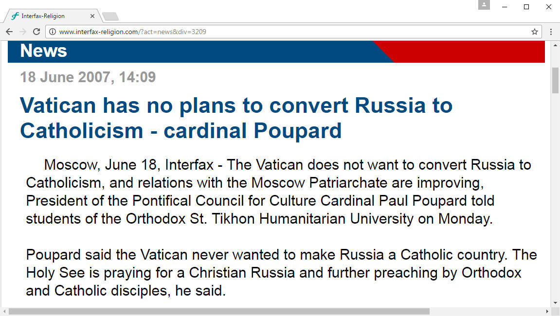 """Vatican has no plans to convert Russia to Catholicism! – """"Cardinal"""" Poupard"""