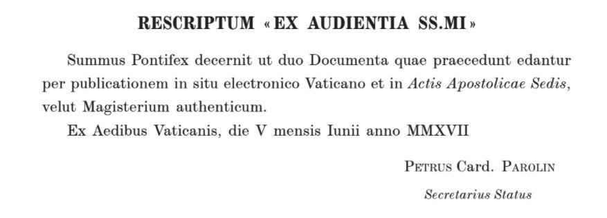 """Rescript """"from an Audience with Pope Francis"""""""